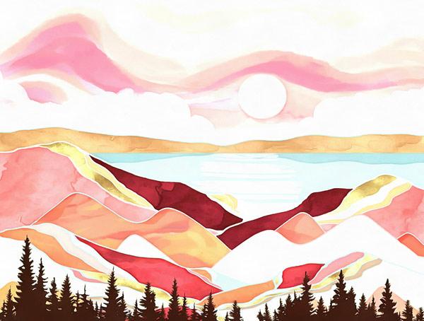 טפט - נוף מאויירם אדום