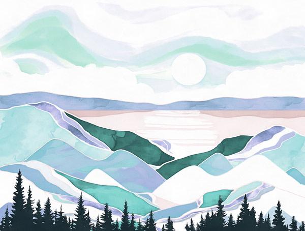 טפט - נוף מאויירם כחול