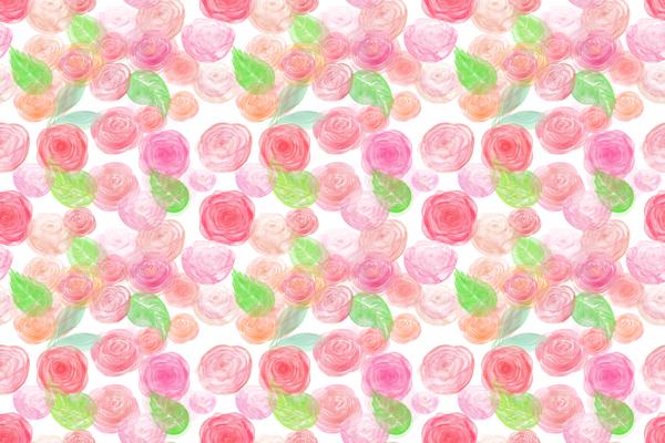 טפט - פרחים ורודים ועלים ירוקים