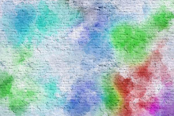 טפט - גרפיטי בריקים כחול ירוק